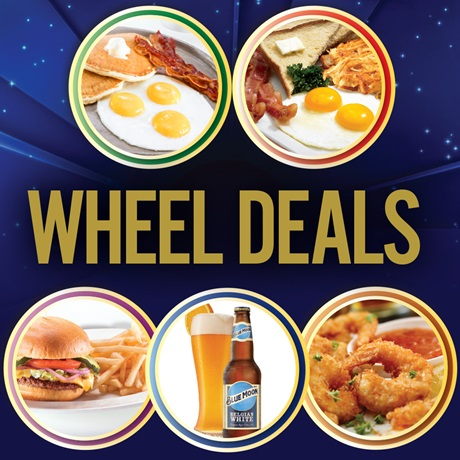Wheel Deals: Blue Moon beer and plates of breakfast foods, fried shrimp, a burger and fries